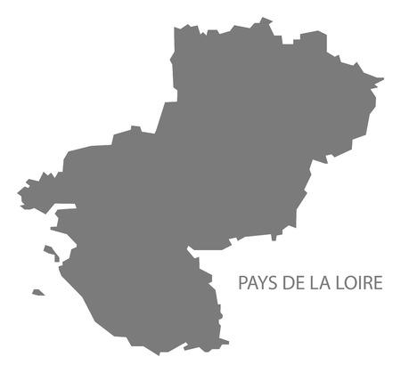 pays: Pays de la Loire France Map grey