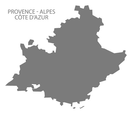 provence: Provence - Alpes - Code d Azur France Map grey
