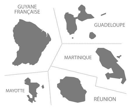 Oversea Departments France Map grey Illusztráció