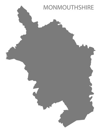 wales: Monmouthshire Wales Map grey Illustration