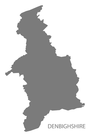 wales: Denbighshire Wales Map grey Illustration