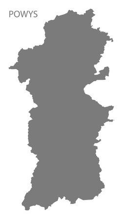 wales: Powys Wales Map grey