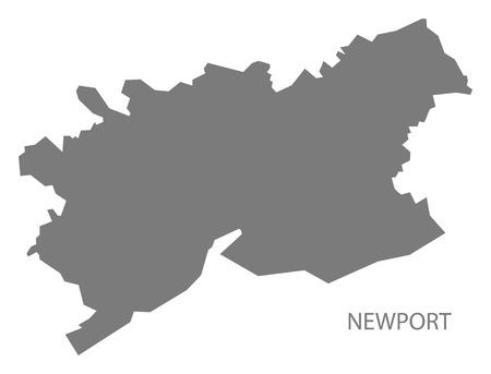 wales: Newport Wales Map grey