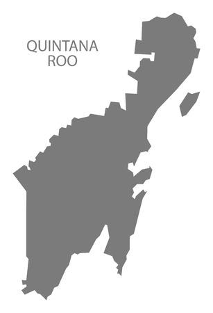 roo: Quintana Roo Mexico Map grey Illustration