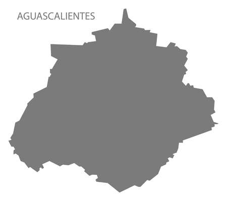 Aguascalientes Mexico Map grey