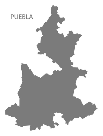 Puebla Mexico Map grey