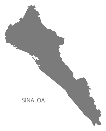 Sinaloa Mexico Map grey