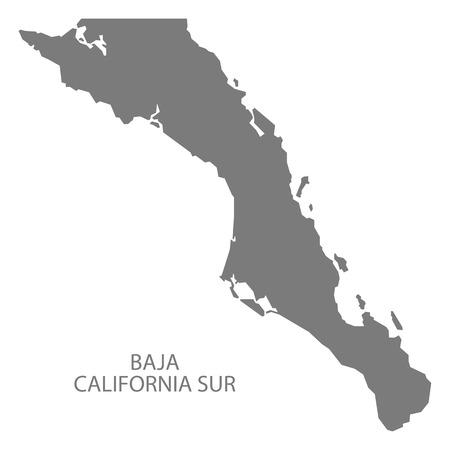Baja California Sur Mexico Map grey Illustration