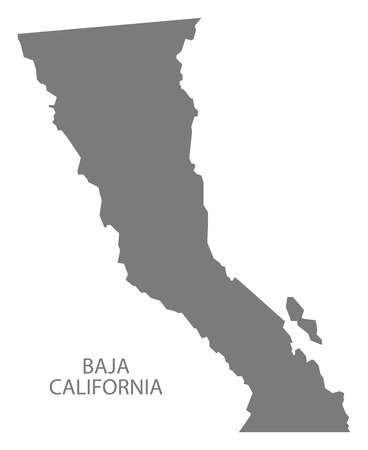 Baja California Mexico Map grey