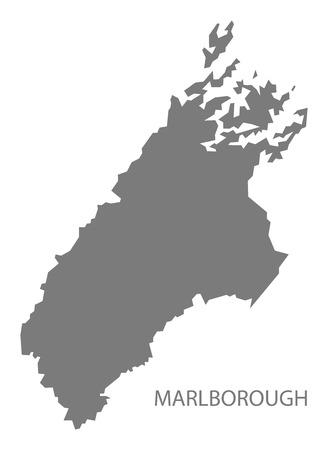 zealand: Marlborough New Zealand Map grey