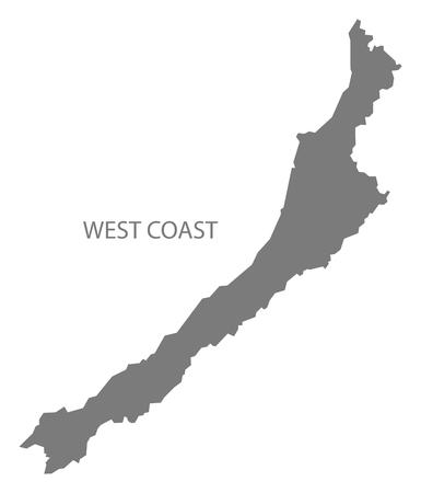 west  coast: West Coast New Zealand Map grey Illustration