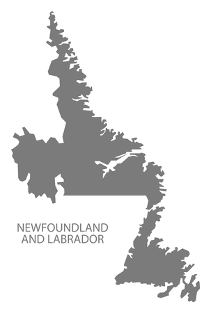 newfoundland: Newfoundland and Labrador Canada Map in grey Illustration