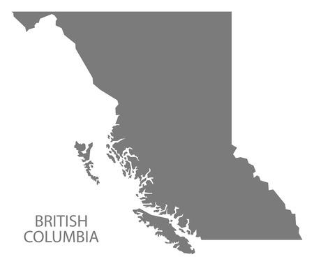 British Columbia Canada Kaart in grijs