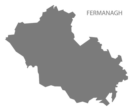 ireland map: Fermanagh Northern Ireland Map in grey