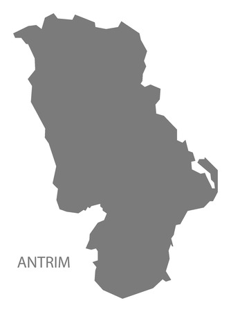 ireland map: Antrim Northern Ireland Map in grey