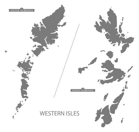 Western Isles Scotland Map in grijs