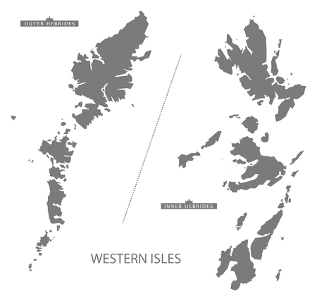 Western Isles Scotland Map in grijs Stockfoto - 61569865