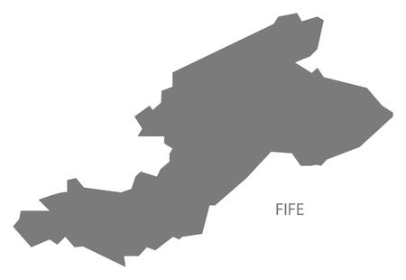 fife: Fife Scotland Map in grey