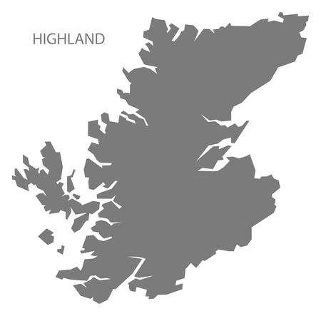 Highland Escocia Mapa en gris