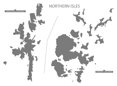 isles: Northern Isles Scotland Map in grey