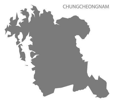 south korea: Chungcheongnam South Korea Map in grey