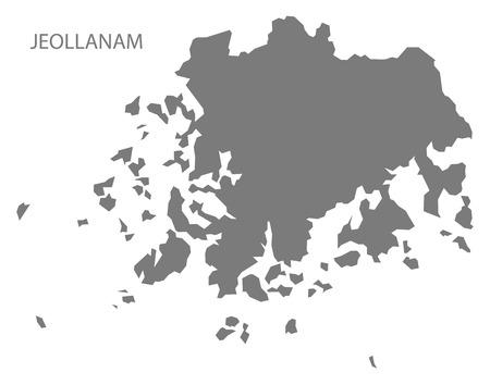 south korea: Jeollanam South Korea Map in grey