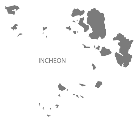 incheon: Incheon South Korea Map in grey