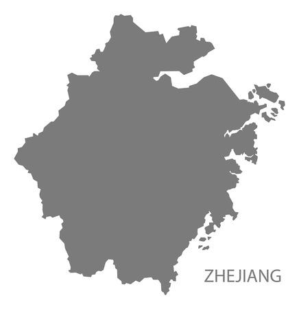 china map: Zhejiang China Map in grey Illustration