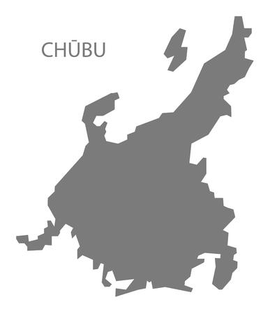 chubu: Chubu Japan Map in grey