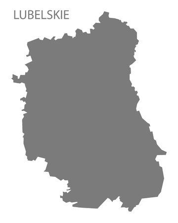lubelskie: Lubelskie Poland Map in grey Illustration