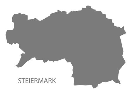 austria map: Steiermark Austria Map in grey