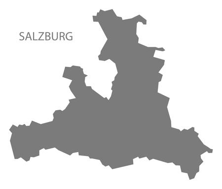 austria map: Salzburg Austria Map in grey Illustration