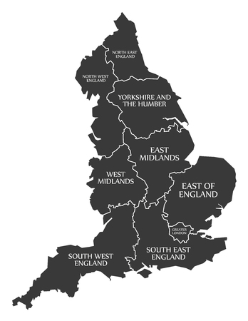 England Map labelled black