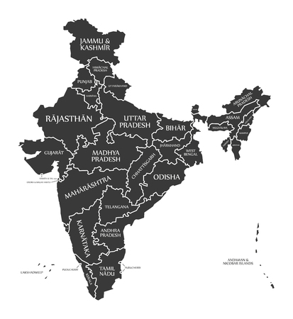 labelled: India Map labelled black