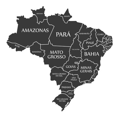 labelled: Brazil Map with states and labelled black