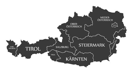 labelled: Austria Map with states and labelled black