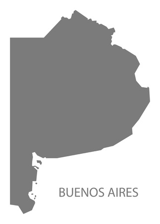 aires: Buenos Aires Argentina Map grey Illustration