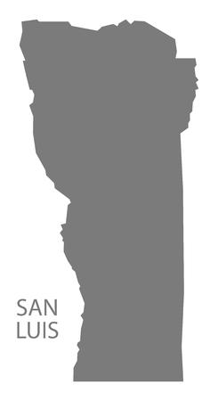 argentina map: San Luis Argentina Map grey