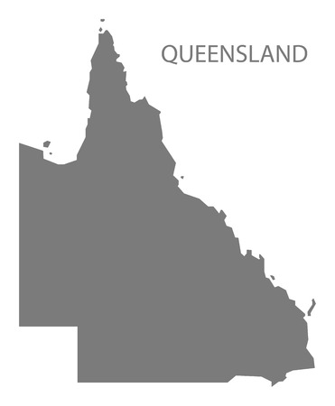 queensland: Queensland Australia Map in grey