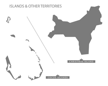 other: Islands and other territories Australia Map grey Illustration