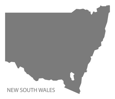 new south wales: New South Wales Australia Map grey