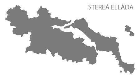 ellada: Sterea Ellada Greece Map in grey Illustration