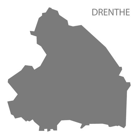 netherlands map: Drenthe Netherlands Map in grey Illustration