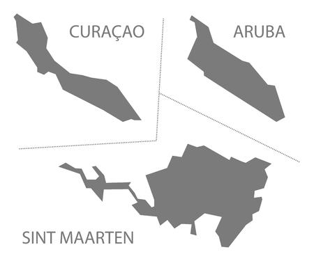 netherlands map: Curacao - Aruba - Sint Maarten Islands Netherlands Map grey