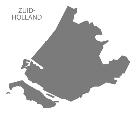 netherlands map: Zuid-Holland Netherlands Map in grey Illustration