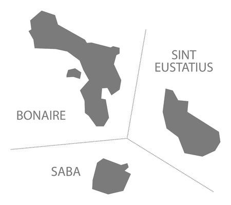 netherlands map: Bonaire - Sint Eustatius - Saba Netherlands Map grey Illustration