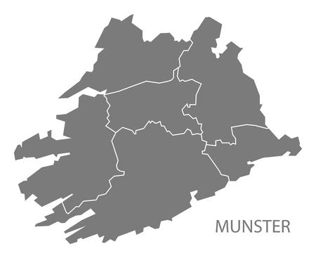 ireland cities: Munster with counties Ireland Map grey