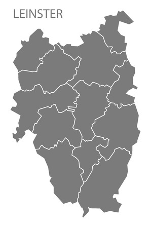 leinster: Leinster with counties Ireland Map grey Illustration