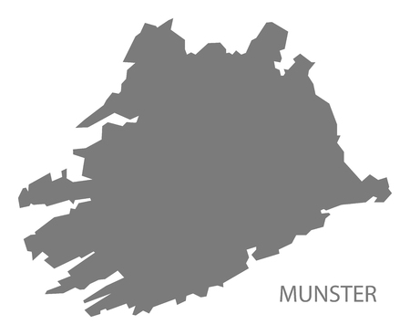 munster: Munster Ireland Map grey Illustration