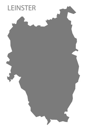 leinster: Leinster Ireland Map in grey Illustration